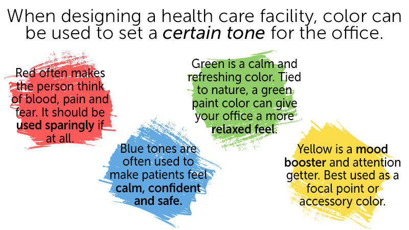 When designing a health care facility, color can be used to set a certain tone for the office.